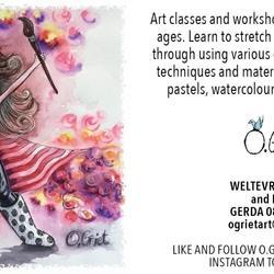 O. Griet artwork and classes - Art lessons- drawing ,painting and pottery skills plus drawings, paintings or ceramic sculptures