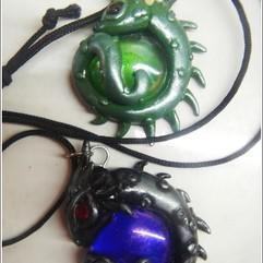 Arts/Crafts - Fantasy dragon pendant with polymer clay