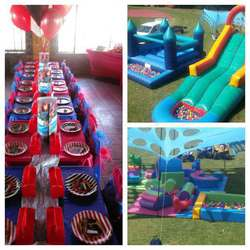 Adventure kids party hire - Softplay jumping castles stretch tents themed parties soft play packages waterslides tables chairs and linen professional face painting  baby showers