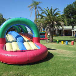 Kid-e-Up Party Yard - Large play area with jungle gyms, trampoline, sandpit, slides, swings, soccer field, bike track, jumping castle, water slides, pizza hut, ponies, netb