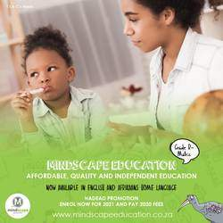 Mindscape Education  - Affordable, quality and independent education system sold for home schoolers and tutor centres across the country with the vision of improving distance learning and independent schooling in SA.