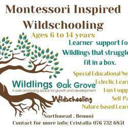 Wildlings Oak Grove Wildschooling - Wildschooling, Montessori , homeschooling, tutoring, special educational needs support, remedial education support, integrated learning therapy, self paced learning, think digital caps curriculum, cottage school.
