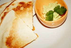 Roast butternut, feta and coriander quesadillas recipe