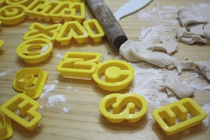 salt dough and alphabet shapes