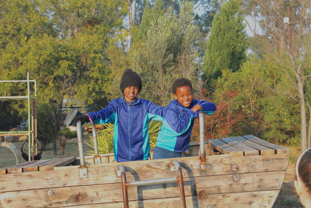 Boys in the garden at Expressions Junior Preparatory School