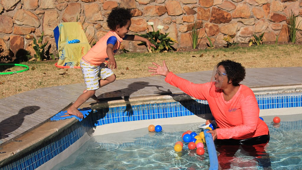 Swimming lessons and play