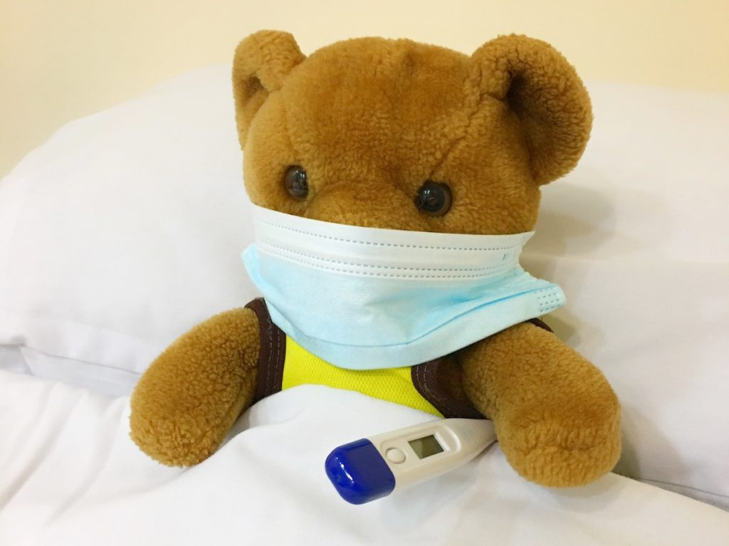 teddy with mask and thermometer