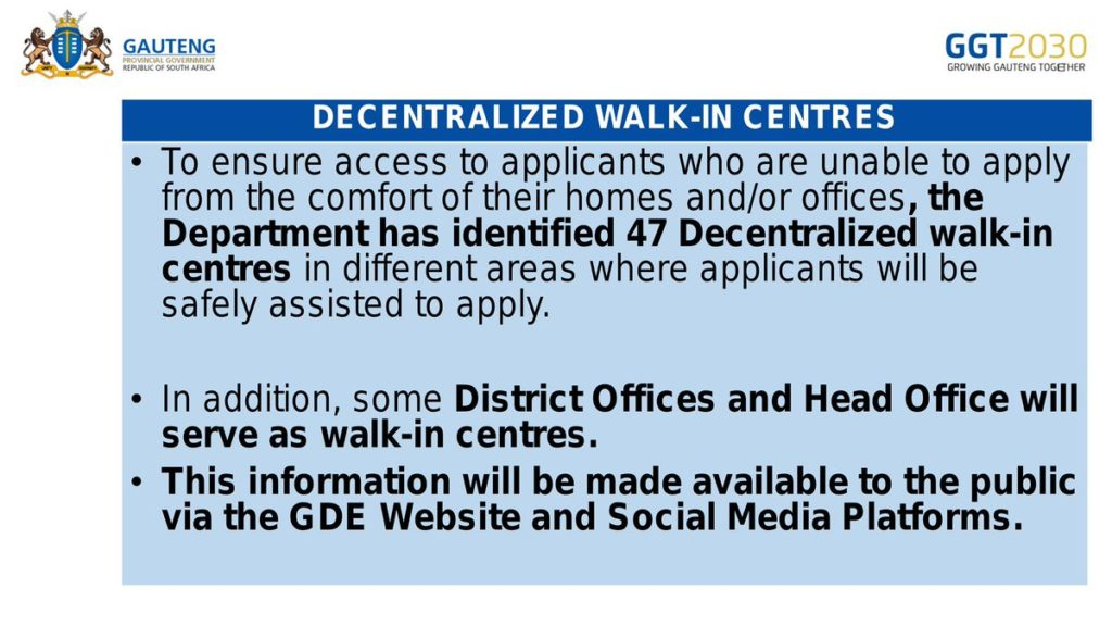 gde applications walk-in centres